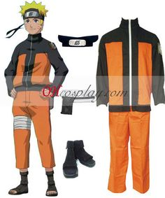 Naruto Shippuuden Uzumaki Naruto Cosplay Costume Set