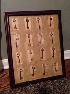 Antique skeleton keys displayed on burlap with vintage tags in cherry shadow box.  I'm getting pretty crafty!  MU