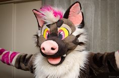 Photo by darkroastyeen on twitter! I haven't seen many Hyena fursuits and I really love the nose on this guy