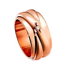 Possession Entrelacée. Large model, 18-carat pink gold ring set with 2 brilliant-cut diamonds (Ref. G34PY300)
