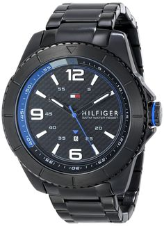 Tommy Hilfiger Men's 1791001 Stainless Steel Watch * Continue to the product at the image link. Black Stainless Steel, Stainless Steel Watch, Tommy Hilfiger Watches, Sell On Amazon, W 6, Casio Watch, Watches For Men, Wrist Watches, Carbon Fiber