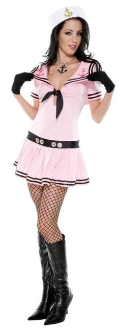Sassy Sailor Pink Standard : This sexy Sassy Sailor costume will float your favorite captain's boat. Pink sailor costume with tie front dress, hat and gloves. Stockings and boots not included. Sailor Halloween Costumes, Burlesque Costumes, Carnival Costumes, Adult Costumes, Costumes For Women, Cosplay Costumes, Dress Hats, Costume Dress, Up Girl