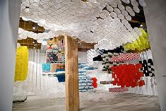 Gas Giant: An Enormous Suspended Kite Installation by Jacob Hashimoto. See more installation views here:  http://www.thisiscolossal.com/2013/06/gas-giant-an-enormous-suspended-kite-installation-by-jacob-hashimoto