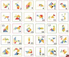 Voilà un jeu qui permet de développer la réflexion et le sens de l'observation. L'idée est de découper dans du carton de grande ta... Tangram Puzzles, Puzzle Montessori, Sudoku, Brain Gym, Kindergarten Lessons, Busy Bags, Stork, Kids Playing, Geography