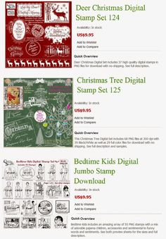 3 Digital Stamp Sets with Deer Christmas, Christmas Tree and Bedtime Kids from Crafty Secrets with link to tutorial showing how to change digital stamps to white or color for the holidays