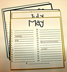 Birthday Calendar June  Calendar Stamped Ideas