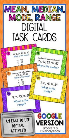 Mean, median, mode, and range activities are super fun in any classroom with these colorful data and statistics digital task cards! Turn any range, median, mean, and mode lesson for kids into a fun classroom activity by having students practice each digit Lessons For Kids, Math Lessons, Math Skills, Study Skills, Math Teacher, Teaching Math, Teaching Ideas, Creative Teaching, Teacher Stuff