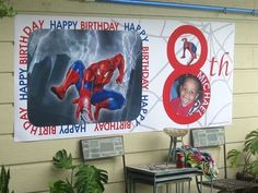 Spiderman birthday banner personalized with kid's name, age and photo. Welcome Home Banners, Personalized Birthday Banners, Party Themes, Party Ideas, Graduation Banner, Party Banners, Custom Banners, Scripts, Kid Names