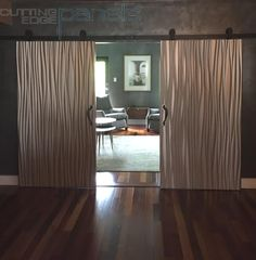Barn Door for Center City condo made from a Reeds wavy wall panel. The doors are double sided featuring a different Thermofoil on each side 3d Wall Panels, City Condo, House Design, Home Goods, Barn Door, Home Improvement, Interior Design, Home Decor, Wall Paneling