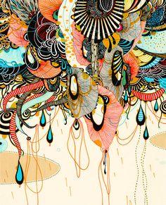 Yellena James, originaire de Sarajevo, est une artiste basée à Portland. Son travail d'illustratrice se concentre sur des formes abstraites et complexes qui développent un écosystème unique où vivent des plantes chimériques. Elle puise principalement son inspiration dans les mondes microscopiques et dans les plantes terrestres et sous-marines pour créer sa propre faune et flore. Elle crée ainsi des illustrations hypnotiques qui semblent prendre vie sous nos yeux.