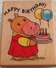 Richard Scarry Hilda Hippo Birthday Penny Black Wood KidStamps Rubber Stamp