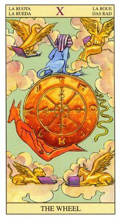A Roda da Fortuna, Arcano Tarot Of New Vision por Pietro Alligo ilustrado por Raul y Gianluca Cestaro, baseado no Tarot de Rider-Waite. Tarot Rider Waite, Wheel Of Fortune Tarot, Epic Of Gilgamesh, Tarot Major Arcana, Tarot Card Decks, Cartomancy, Oracle Cards, Archetypes, Occult