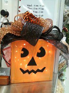 Halloween glass block pumpkin 2013