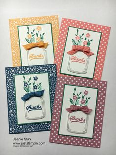 Stampin' Up! Jar of Love Stamp set, Thank you cards, 2016-2018 In Colors
