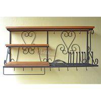 Porta Pratos / Paneleiro 1,00 em Ferro com Madeira - 5320 #madeiraeferro #portaprato #cozinha #prato #xícara