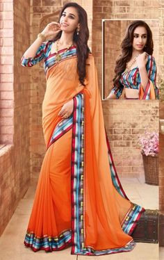 Bewitching Orange Latest Saree with Fashionable Blouse