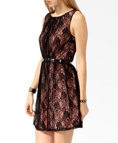 Contrast Lace Dress w/ Belt