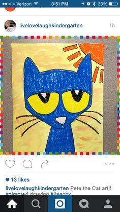 Pete the cat directed drawing Kindergarten Drawing, Kindergarten Art Lessons, Drawing For Kids, Art For Kids, Pete The Cat Art, First Grade Art, Directed Drawing, Classroom Crafts, Drawing Lessons