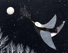 Loiseau de nuit chante sa crèche de Lullaby  8 x 10