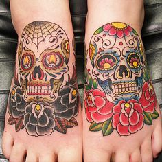 Sugar skull tattoos #Tattoos #SugarSkulls #GirlsWithTattoos #FootTattoos #RoseTattoos #TraditionalTattoos #RebelInk #RebelInkShop #RebelInkMag