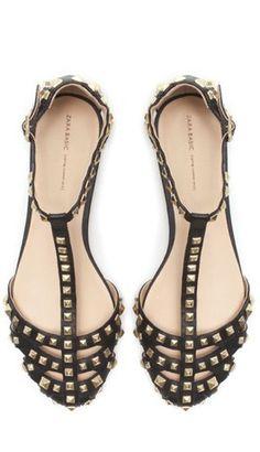 fb18e4309db studded sandals   zara Studded Flats