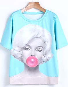 Blue Short Sleeve Bubblegum Beauty Print T-Shirt US$21.72