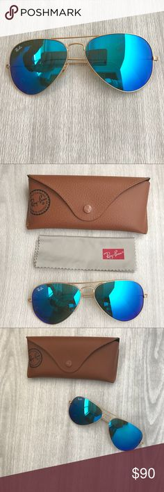 Ray-ban 58mm Blue Mirrored Aviators Classic must have style! Genuine blue mirrored aviators with matte gold frames. Size: 58mm. Gently worn, like new. Original case and lens cloth included. Ray-Ban Accessories Sunglasses