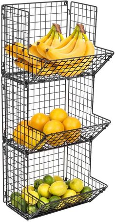 3-Tier Fruit Basket Stand – Sorbus Home Tiered Fruit Basket, Hanging Fruit Baskets, Large Baskets, Baskets On Wall, Wall Mounted Kitchen Storage, Metal Storage Racks, Wall Storage, Fruit Storage, Storage Baskets