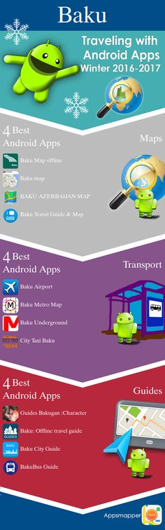 Baku Android apps: Travel Guides, Maps, Transportation, Biking, Museums, Parking, Sport and apps for Students.