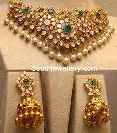 Flat Diamond Peacock Choker and Jhumkas photo