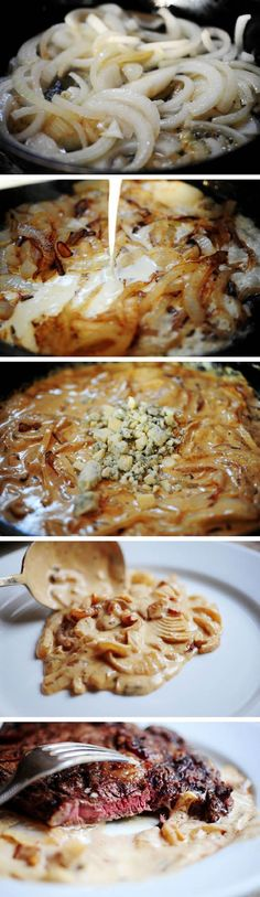 Grilled Ribeye Steak with Onion-Blue Cheese Sauce