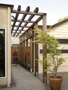 Simple trellis ties walkway to out building