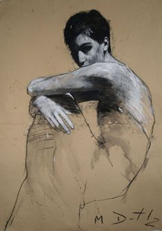 Mark Demsteader, Beautiful drawing using a mid-value paper. Part of the drawing is modeled with shading to give the illusion of being three dimensional while the rest is a simple out line. Love the contrast.