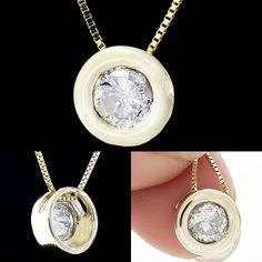 0.56 CT ROUND WHITE DIAMOND PENDANT SOLITAIRE NECKLACE 14K YELLOW GOLD W CHAIN