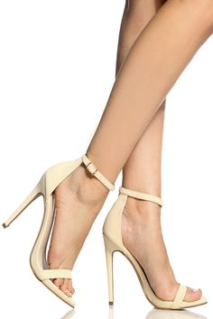 58baf9e45d Nude Faux Nubuck Ankle Strap Single Sole Heels @ Cicihot Heel Shoes online  store sales:Stiletto Heel Shoes,High Heel Pumps,Womens High Heel Shoes,Prom  Shoes ...
