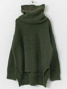 . . Dark Green High Neck Elbow Patch Split Sweater -SheIn(abaday) . .