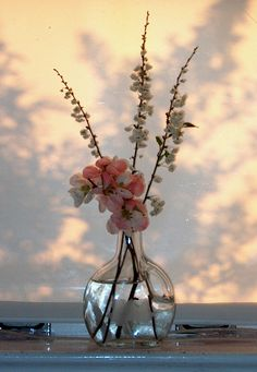 fresh flowers, glass bowl, marbles