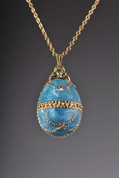 Turquoise faberge  Egg Pendant Gold plated necklace - Jewelry - by Keren Kopal