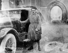"Adolf Hitler, age 35, on his release from Landesberg Prison, on December 20, 1924. Hitler had been convicted of treason for his role in an attempted coup in 1923 called the Beer Hall Putsch. This photograph was taken shortly after he finished dictating ""Mein Kampf"" to deputy Rudolf Hess. Eight years later, Hitler would be sworn in as Chancellor of Germany, in 1933. (Library of Congress)"