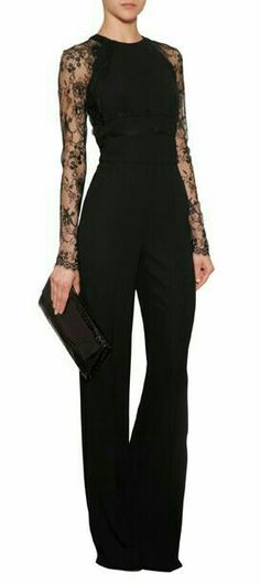 An exquisite alternative for evening, Elie Saab& jumpsuit features exquisite lace sleeves and flattering wide leg silhouette Mode Outfits, Fashion Outfits, Womens Fashion, Fashion Trends, Fashion Clothes, Mode Style, Style Me, Elegantes Outfit, Mode Inspiration