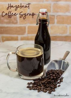 It's so easy to make your own delicious hazelnut coffee syrup at home! It only takes three ingredients - including LorAnn Hazelnut Bakery Emulsion - and a few minutes. Hazelnut Recipes, Yummy Snacks, Yummy Drinks, Homemade Coffee Creamer, Mango Syrup, Simple Syrup, Coffee Recipes, Irish Coffee