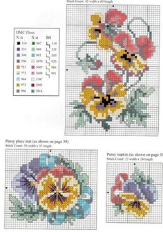 think its pansies Small Cross Stitch, Beaded Cross Stitch, Cross Stitch Rose, Cross Stitch Flowers, Cross Stitch Designs, Cross Stitch Embroidery, Cross Stitch Patterns, Hand Embroidery Videos, Embroidery Patterns