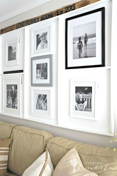 This built-in diy photo display perfectly accentuates family photos with a white backdrop and dividers. Build A Picture Frame, White Picture Frames, Frame Wall Collage, Frames On Wall, Frame Display, Blended Family Photos, Ikea, Portrait Wall, White Backdrop