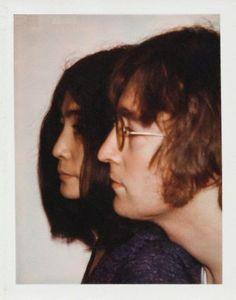 Yoko Ono and John Lennon photographed by Andy Warhol.  #Polaroids