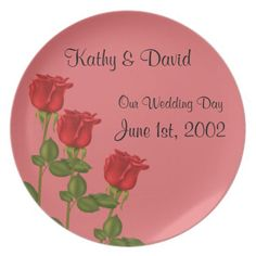 Red Roses Wedding Plates http://www.zazzle.com/red_roses_wedding_plates-115098533634520899?rf=238631258595245556