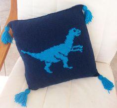 Dinosaur Pillow Velociraptor Knitting Pattern by iKnitDesigns