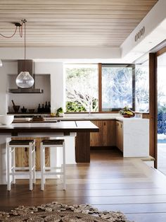 wood ceiling kitchen