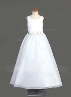 A-Line/Princess Scoop Neck Floor-Length Organza Flower Girl Dress With Flower(s) (010005904) - JJsHouse