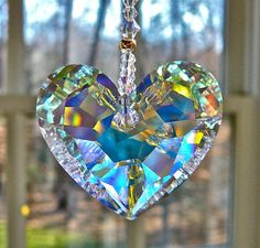 """Crystal Heart Sun Catcher, Car Charm Swarovski Aurora Borealis Heart Glows in Low Light - Choice of 3 Lengths for Home or Car - """"ANIKA""""crystal Swarovski Crystal Figurines, Swarovski Crystals, Shades Of Gold, Pendant Design, Sun Catcher, Heart Shapes, Bling, Charmed, Gemstones"""
