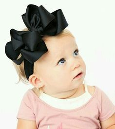 boutique double layered BIG BLACK hair bow on a headband Black Hair Bows, Diy Hair Bows, First Birthday Outfit Girl, Baby Girl Hair, Baby Girls, Big Black, Solid Black, Boutique Hair Bows, Feather Headband